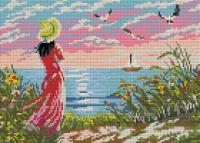 Набор Алмазной мозаики  АВ 3051 Девушка  (полная зашивка)