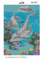 Набор Алмазной мозаики  АВ 3053 Дельфины  (полная зашивка)