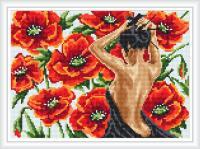 Набор Алмазной мозаики  АВ 3063 Маки  (полная зашивка)