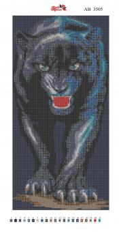 Алмазная вышивка АВ 3505 Пантера  (полная зашивка)