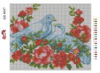 Набор Алмазной мозаики   АВ 4047  Голуби полная зашивка