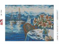 Набор Алмазной мозаики   АВ  2014 Столик у моря  полная зашивка