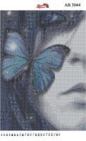 Набор Алмазной мозаики  АВ 3044 Девушка с бабочкой  (полная зашивка)