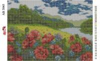 Набор Алмазной мозаики  АВ 3045 Маки, река  (полная зашивка)