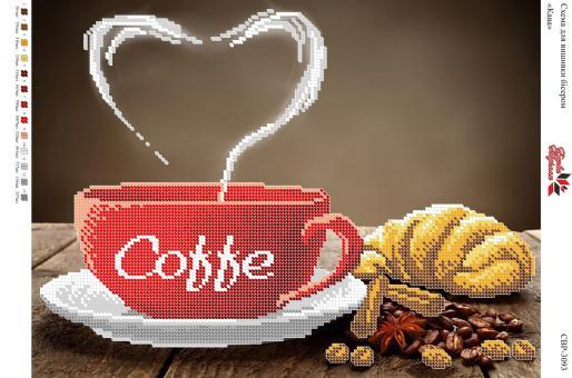 Вышивка бисером СВ 3093 Кофе (частичная зашивка)