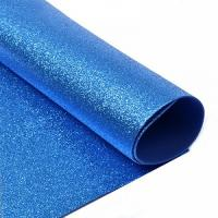 фоамиран с глиттером  (блестками)  голубой   20см*30см  Упаковка 10шт