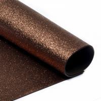 фоамиран с глиттером  (блестками)  шоколадный  20см*30см