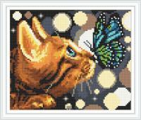 Набор Алмазной мозаики   АВ 4057 Кошка  полная  зашивка