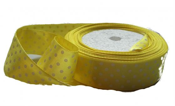 Лента в горох атласная 2,5см желтая в белый горох  (упаковка 5 шт)