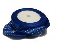Лента в горох атласная 2,5см синяя   в белый горох  (упаковка 5 шт)