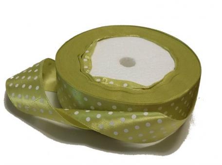 Лента в горох атласная 2,5см оливковая  в белый горох   (упаковка 5 шт)