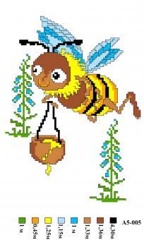 Набор вышивки нитками А5 005 Пчелка