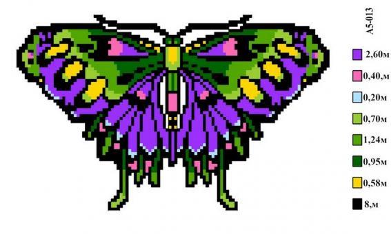 Набор вышивки нитками А5 013 Бабочка