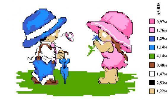 Набор вышивки нитками А5 035 Мальчик с девочкой