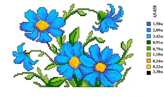 Набор вышивки нитками А5 038 Цветочки