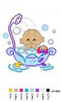 Набор вышивки нитками А5 066 Малыш в ваной