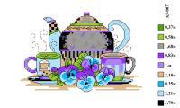 Набор вышивки нитками А5 067 Чайный сервиз