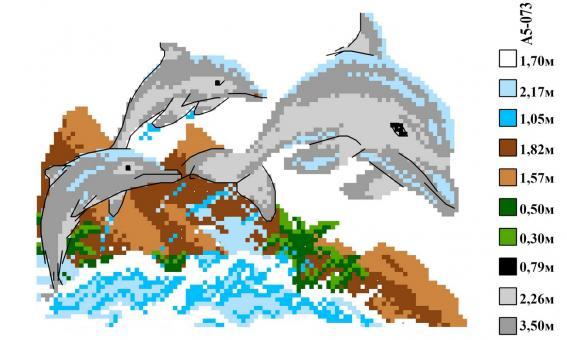 Набор вышивки нитками А5 073 Дельфины