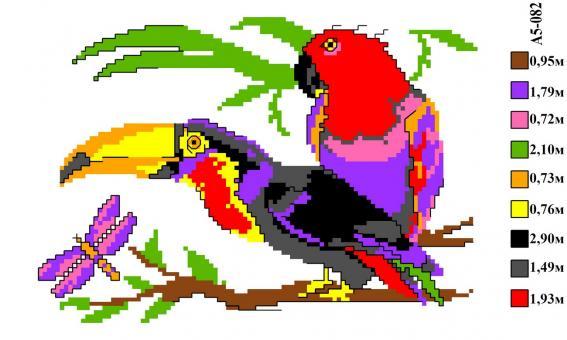 Набор вышивки нитками А5 082 Птички