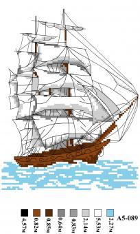 Набор вышивки нитками А5 089 Корабль