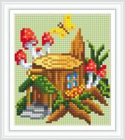 Набор Алмазной мозаики АВ 5079 Домик-пень  полная зашивка