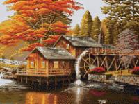 Набор Алмазной мозаики   АВ  2015 Домик осень  полная зашивка